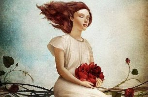 Mulher com flores representando pessoas que enxergam com o coração
