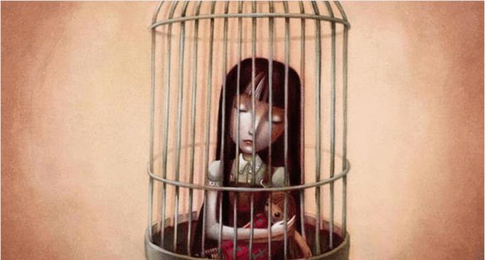 Menina presa que se afasta de si mesma