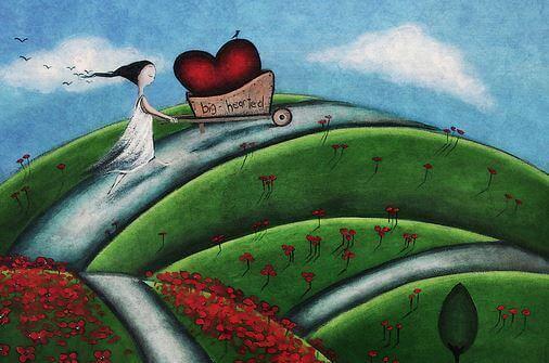 Mulher cultivando corações longe de quem a afasta de si mesma