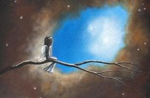Menina olhando o céu