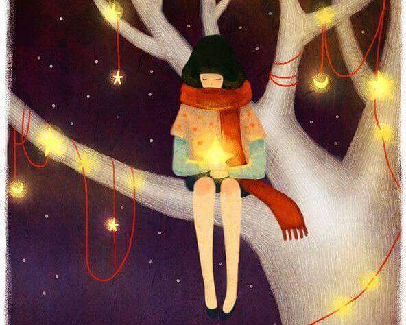 Mulher em árvore com estrelas, pensando em boas pessoas