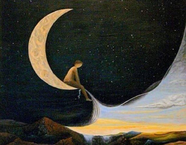 Homem sentado na lua brincando com o céu