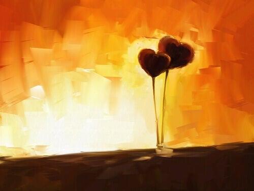 balões de corações