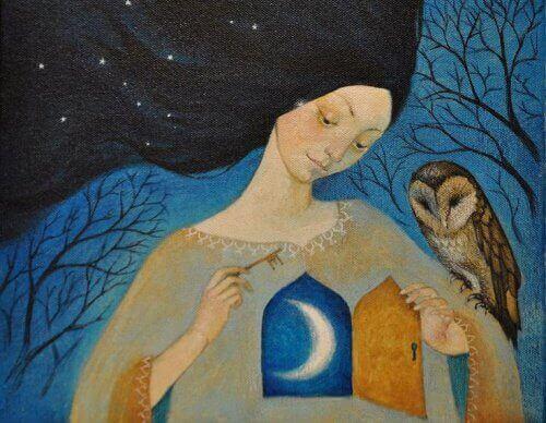 Mulher altamente sensível com coruja