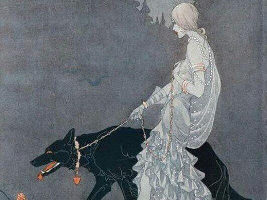 mulher-levando-lobo-para-passear