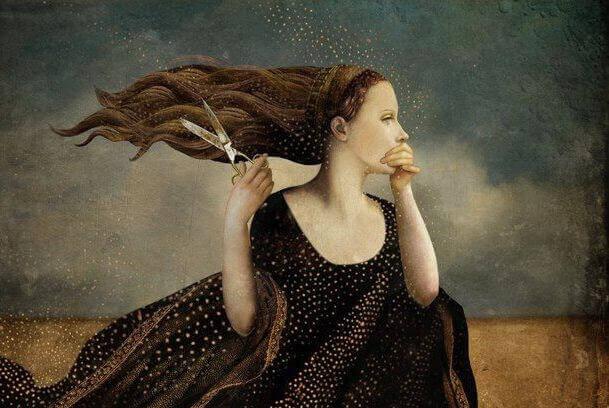 Mulher com tesoura