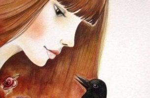 Mulher com pássaro