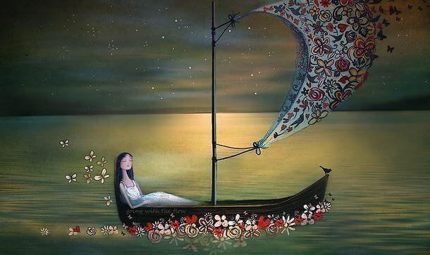 Mulher em barco representando o passado