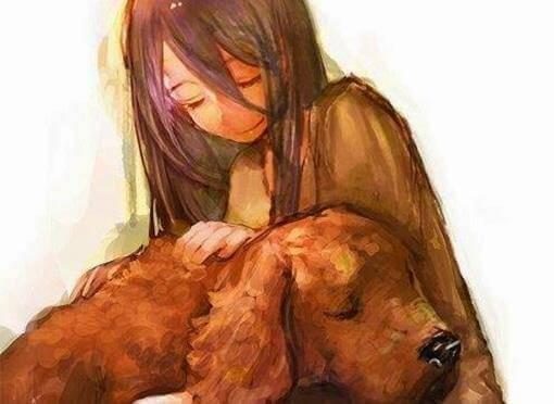 Menina com cachorro que ajudou na cura emocional