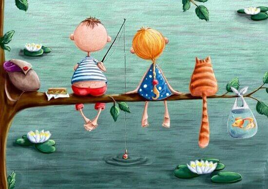 crianças pescando