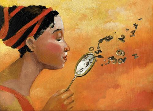 mulher com relógio