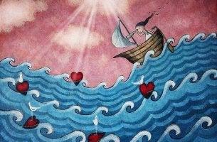 Mulher navegando em mar de corações