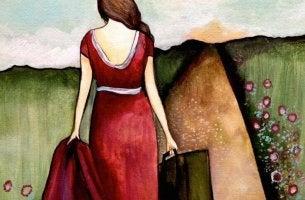 Mulher em estrada