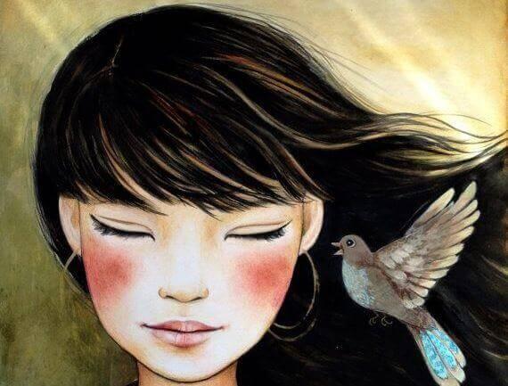 mulher-com-passarinho
