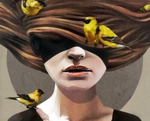 mulher-com-passaros-no-cabelo