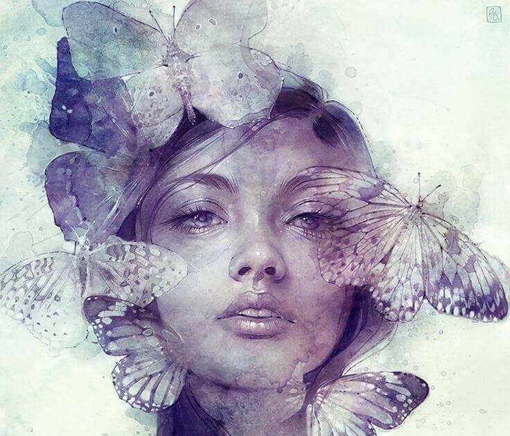 Mulher com borboletas representando a beleza