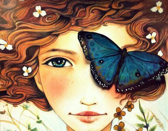 Mulher com borboleta no olho