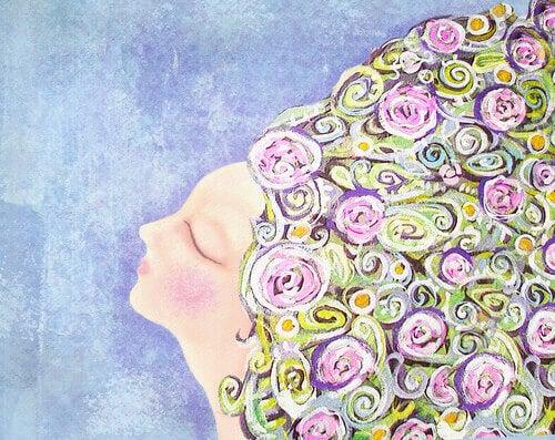 Mulher-com-cabeça-cheia-de-flores
