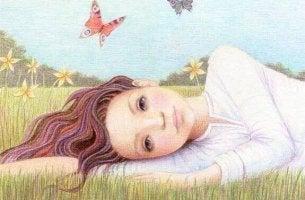 Menina deitada com seus pensamentos