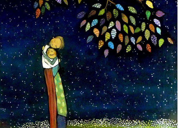 Casal se abraçando à noite