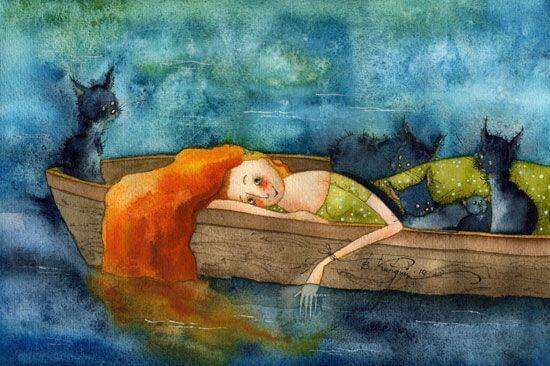 Mulher com gatos em barco representando a paciência
