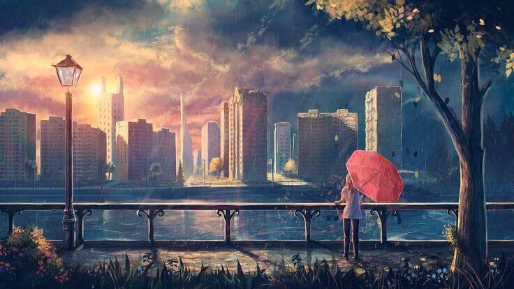 Mulher apreciando paisagem pensando no amor correspondido