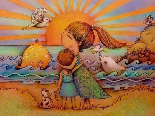 Mãe com sua filha pois o amor não tem condições