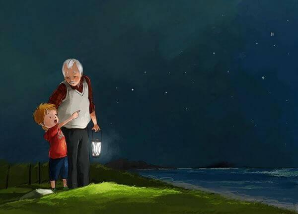 Avô com neto representando o passar dos anos