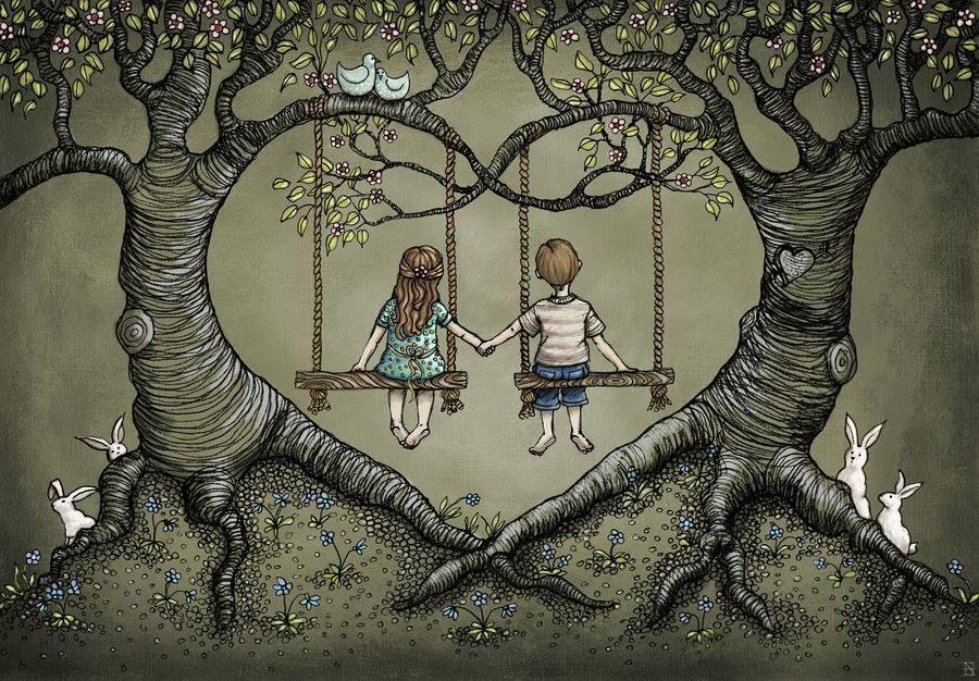 Crianças de mãos dadas que gostam de ficar juntas