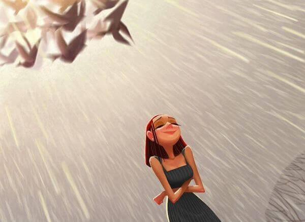 Mulher com atitude na chuva