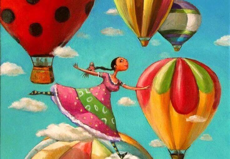 Mulher com balões e muita atitude