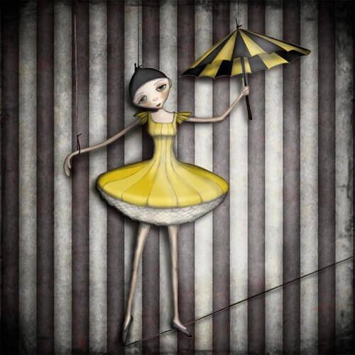 Bailarina sendo manipulada em corda bamba