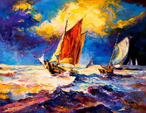 barco navegando sob o sol