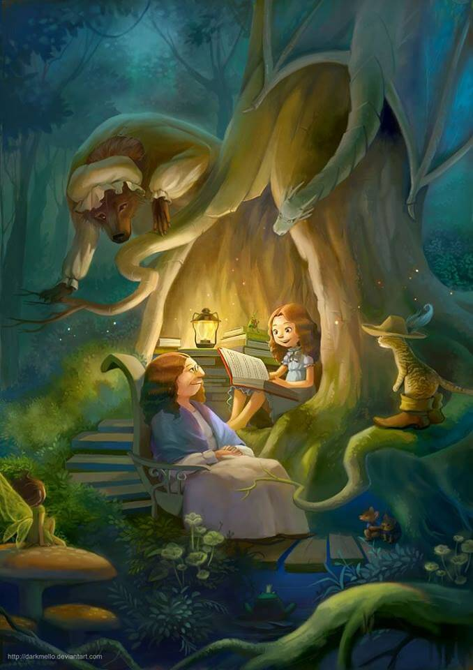 Filha lendo conto de fadas para sua mãe
