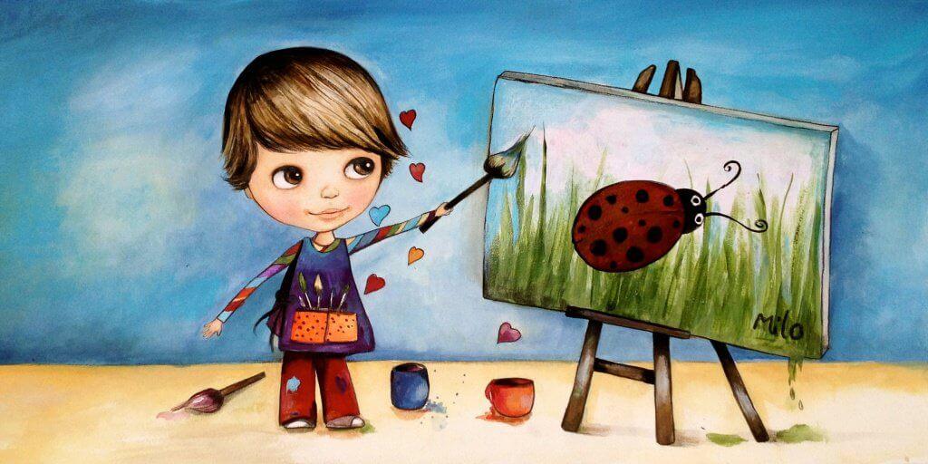 Criança pintando sabendo que o amor não tem condições