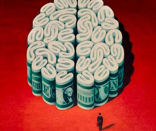 Dinheiro em forma de cérebro representando a avareza