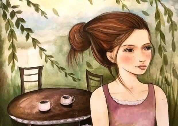 Menina esperando amigo para tomar café