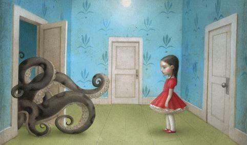 Menina com monstro no armário