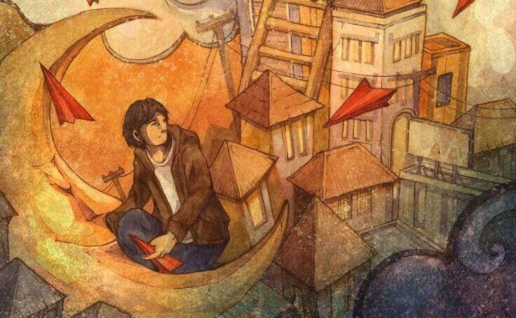 homem em paisagem de contos de fada