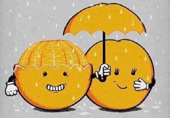 Laranjas na chuva representando a humildade