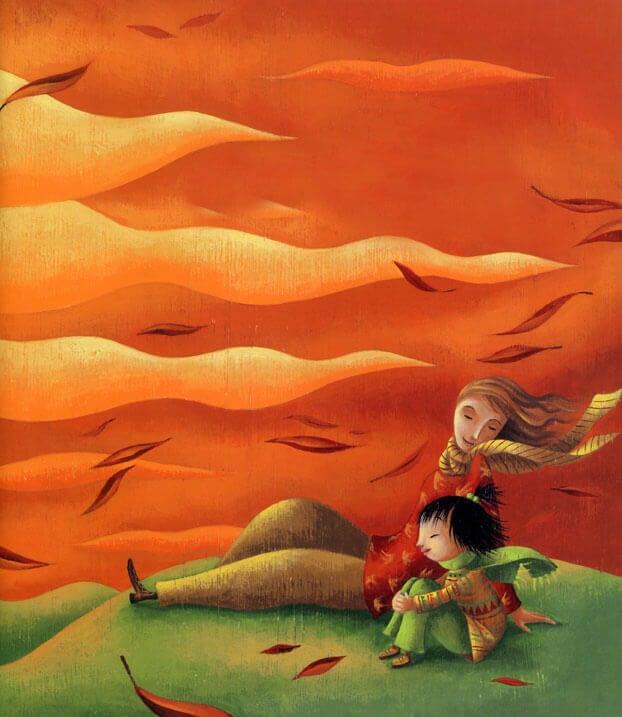 Mãe e filha aproveitando o vento
