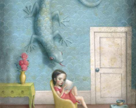 Menina com lagarto