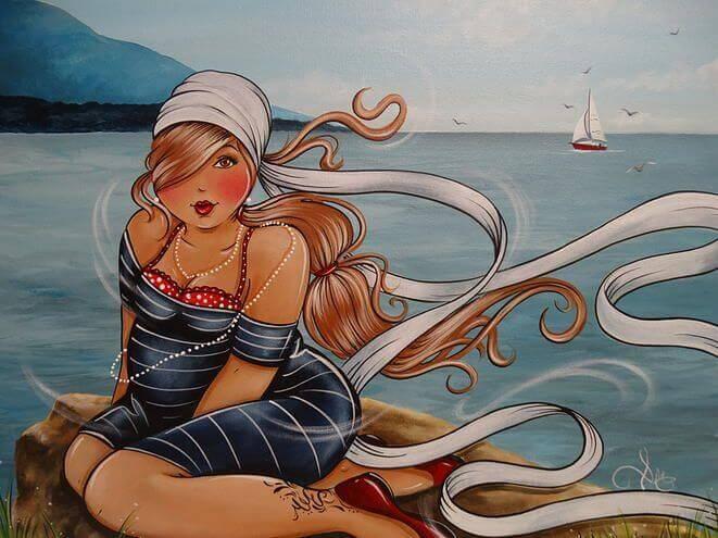 mulher na praia em sua melhor idade