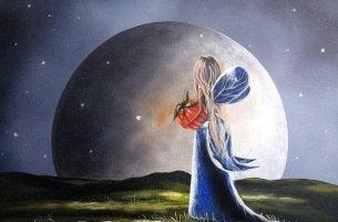 Mulher observando a lua