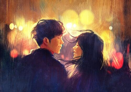 Casal apaixonado que sente atração mental