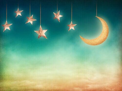 Céu com estrelas e lua