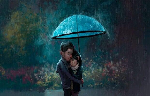 Casal embaixo de um guarda-chuvas