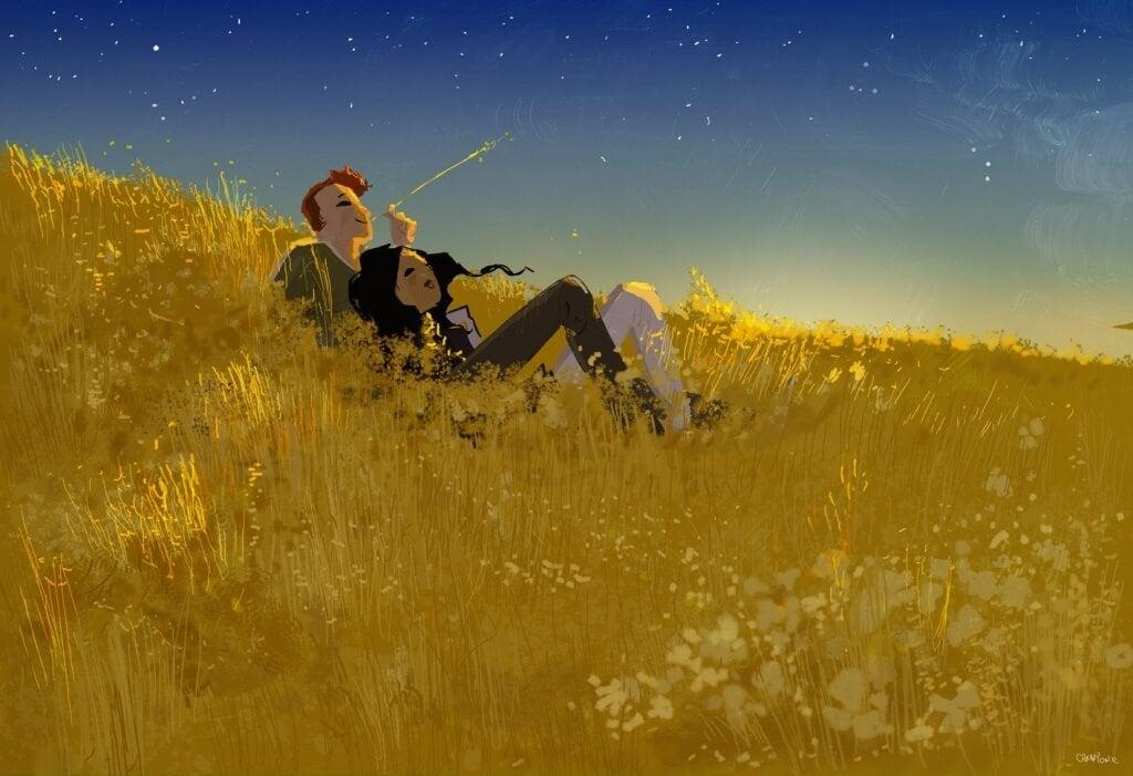 Casal olhando as estrelas