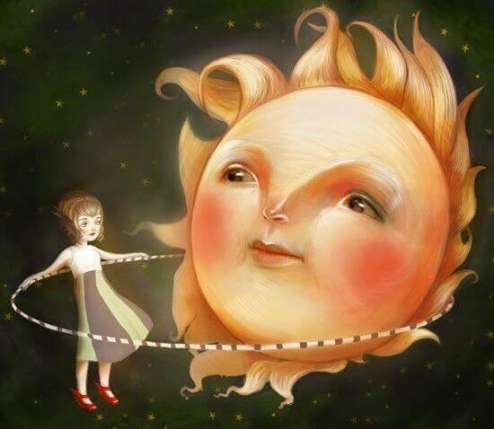 Criança brincando com um sol que luta contra o vazio