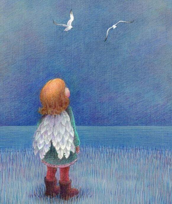 Criança com asas olhando o céu